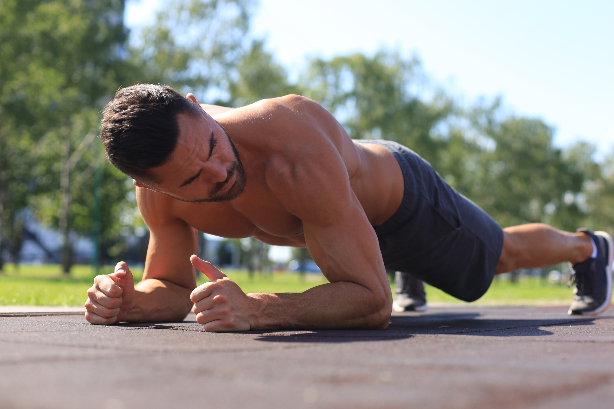 Plank exercise outdoors