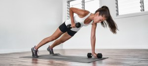 dumbbell row from plank position