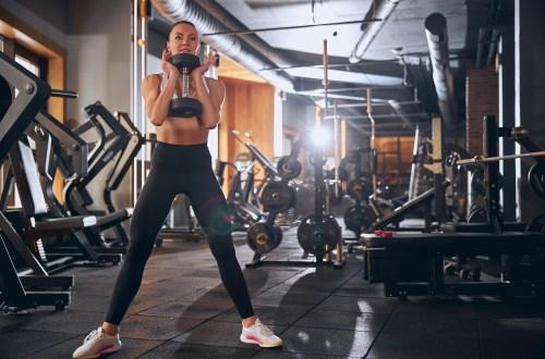 Dumbbell goblet squat at the gym